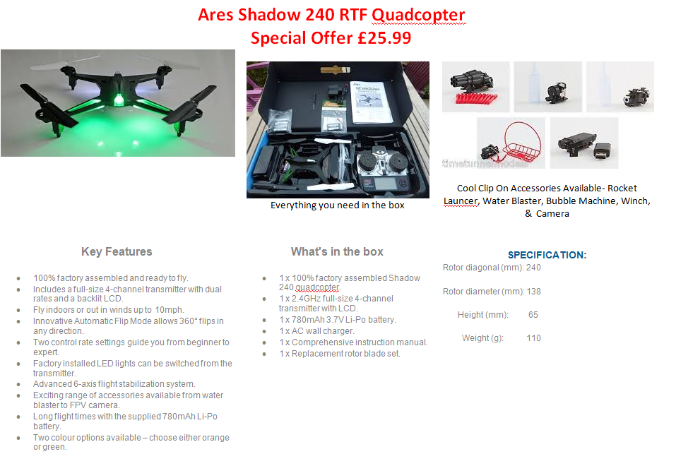 area shadow 240 rtf quadcopter special offer