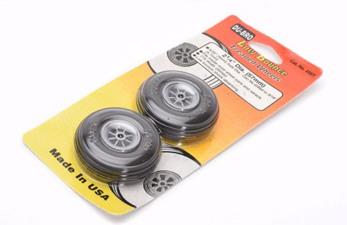"Dubro 2-1/4"" (57.15mm) Wheels with Treaded Tyres (Pair)"